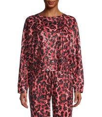 foil cheetah print pullover