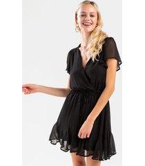 gianne godet dress - black
