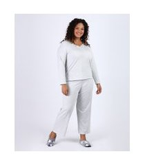 pijama feminino plus size com renda manga longa cinza mescla claro