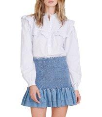 veronica beard aloya smocked chambray miniskirt, size 4 in light indigo at nordstrom