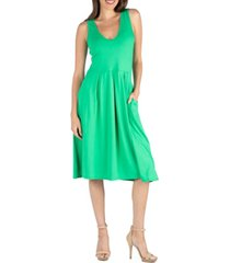 24seven comfort apparel fit and flare midi sleeveless dress with pocket detail