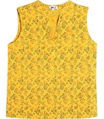 blusa amarilla m/s flores color amarillo, talla 10