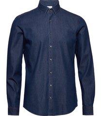 denim washed slim sh overhemd casual blauw calvin klein