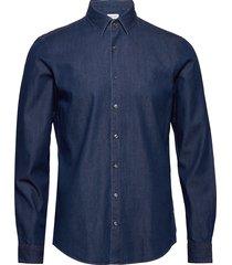 denim washed slim shirt overhemd casual blauw calvin klein