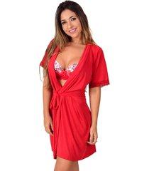 robe  vip lingerie liganete liso vermelho - vermelho/vinho - feminino - dafiti