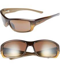 men's maui jim barrier reef 62mm polarizedplus2 sunglasses - brown gold/ bronze