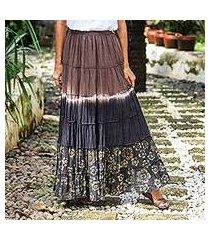 batik cotton skirt, 'festive summer in brown' (thailand)