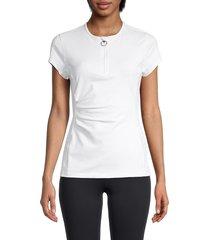 roberto cavalli sport women's draped quarter-zip top - white - size s