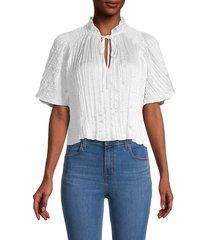 bcbgeneration women's cropped woven blouse - white - size m