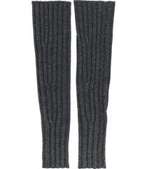 cashmere in love ribbed fingerless aspen gloves - grey