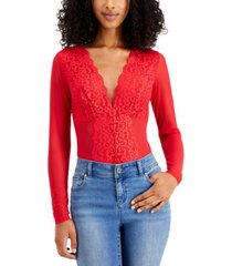 inc long-sleeve lace mesh bodysuit, created for macy's