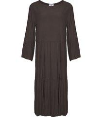 tiffany tiffany viskosklänning lång brun, 181019