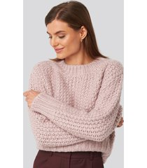 na-kd trend heavy knitted wide rib sweater - pink