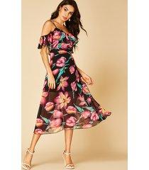 yoins random floral print cold shoulder high-waisted midi dress