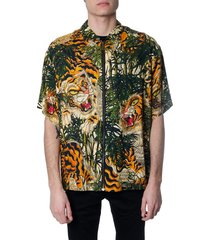 dsquared2 all over jungle print viscose shirt