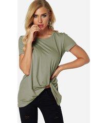 verde plisado diseño redondo cuello camisetas de manga corta