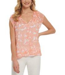 dkny printed split-neck blouse