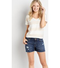maurices womens dark ripped 3.5in fray shorts blue