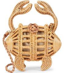 aranaz women's crab wicker clutch - natural