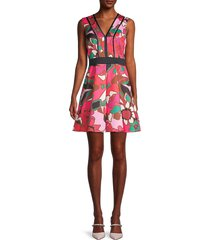 ted baker women's floral-print a-line skater dress - bright pink - size 0 (2)