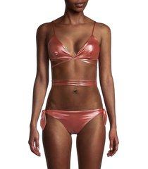 moschino women's rame bikini top - rose gold - size 4 (xl)