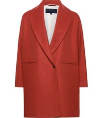 ricio platform wool cocoon ct wollen jas lange jas rood french connection