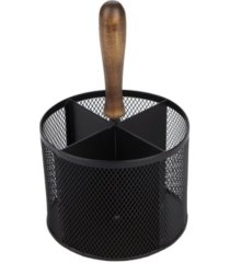 mind reader 4 section round steel mesh utensil holder with wood handle