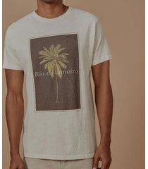 t-shirt foxton palmeira rio - bege - bege - masculino - dafiti