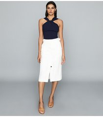 reiss katie - linen blend midi skirt in white, womens, size 14