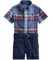 polo ralph lauren baby boys 3-pc. plaid shirt, belt & shorts set