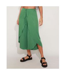 calça saída de praia pantacourt cintura alta com transpasse e amarração verde militar
