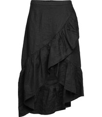 wendy linen solid knälång kjol svart line of oslo