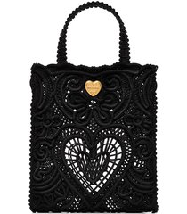 dolce & gabbana small beatrice crocheted tote bag - black
