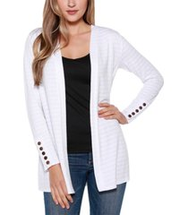belle by belldini long sleeve cardigan top with sleeve button detail