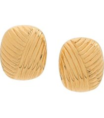 christian dior pre-owned ribbed earrings - gold