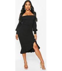 bardot balloon sleeve ruffle midi dress, black