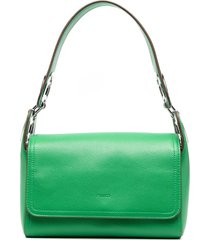 pinko hoop-detail leather shoulder bag - green