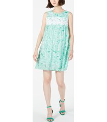 ny collection petite printed crochet-trim shift dress
