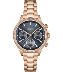 boss women's hera rose gold-tone stainless steel bracelet watch 38mm