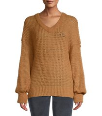 free people women's v-neck knitted tunic sweater - sweet orchid - size s