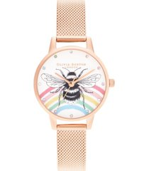 olivia burton women's iconic bee rose gold-tone stainless steel mesh bracelet watch 30mm