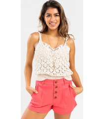 luelle canvas shorts - coral