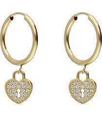 orecchini a cerchio in oro giallo e strass con lucchetto cuore per donna