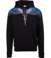 marcelo burlon man wings black and blue hoodie