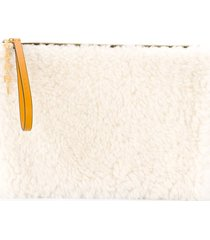 marni shearling clutch bag - yellow