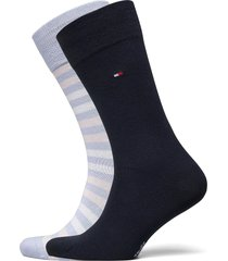 th men duo stripe sock 2p underwear socks regular socks blå tommy hilfiger