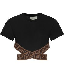fendi black t-shirt with double ff for girl
