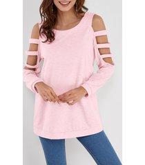 camiseta rosa de manga larga con hombros descubiertos de color liso