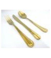 conjunto dourado de talheres para sobremesa 18 peças
