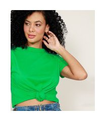 camiseta de algodão básica com nó manga curta decote redondo verde
